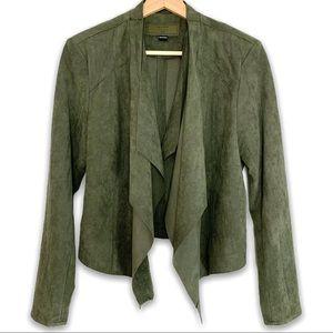 BlanckNYC Olive Waterfall Faux Suede Jacket